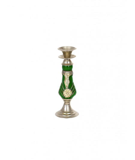 Moroccan candlestick in amber and silver finish