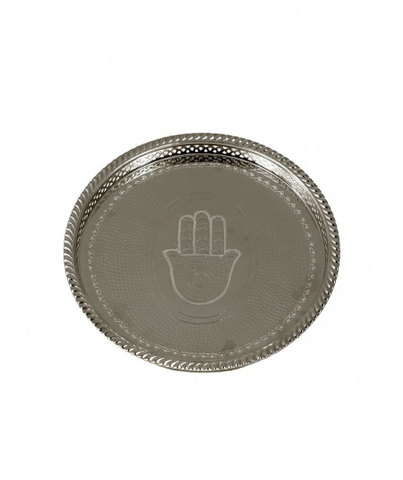 Circular tray in silver metal