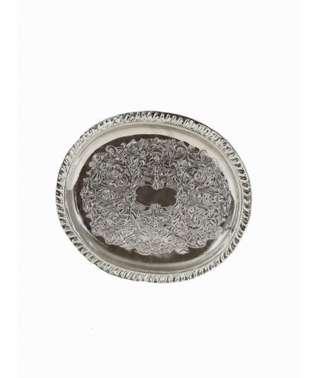 Oval tray in silver metal