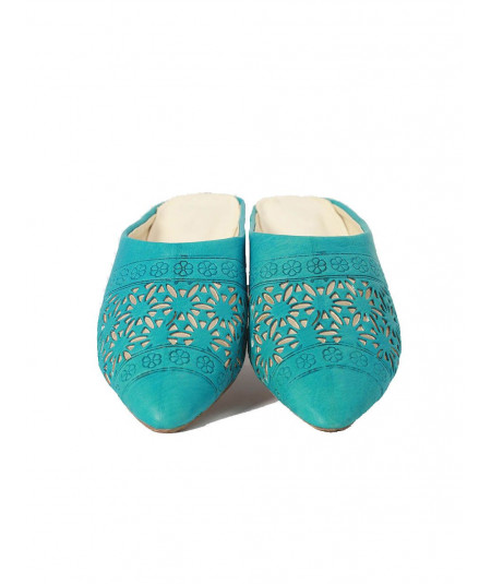 Babouches fleurs cuir turquoises