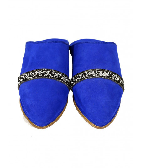 Decorated suede slipper