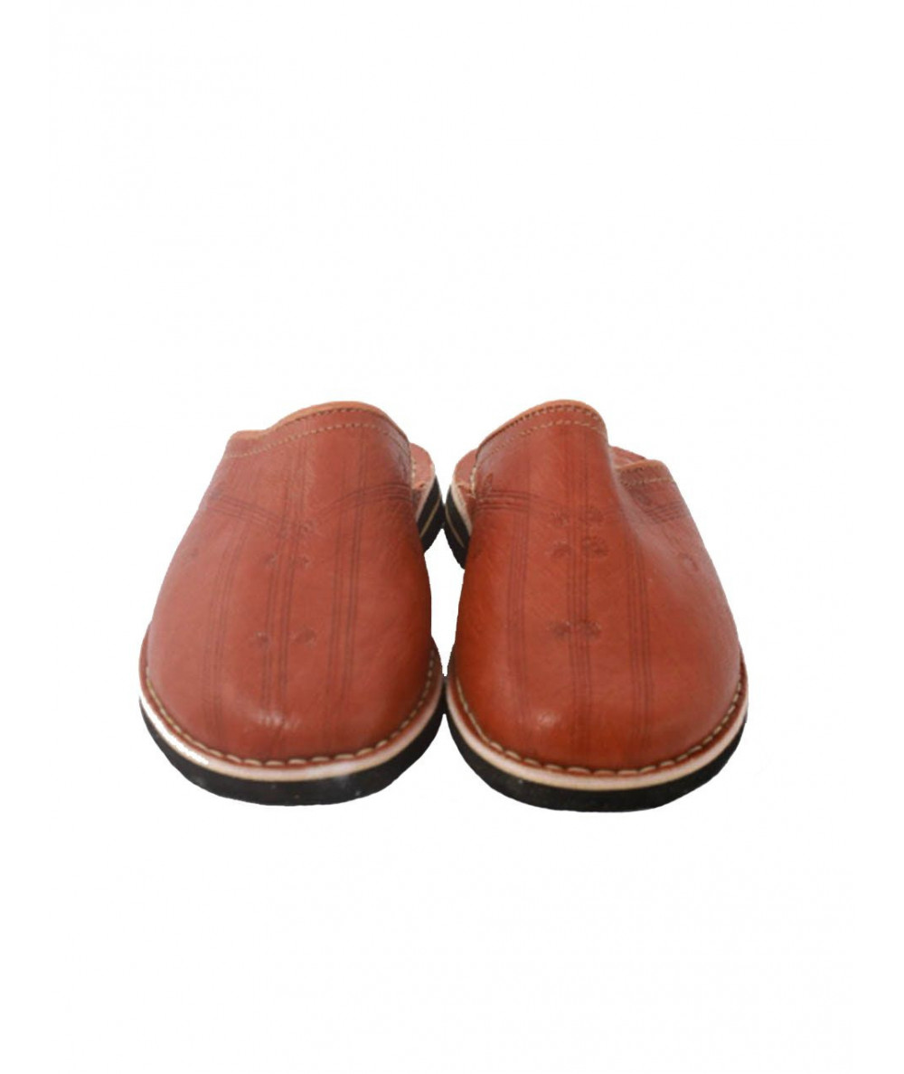 Round soft leather slipper