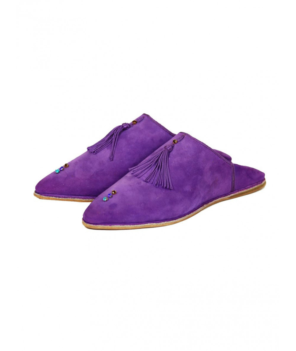Pointed suede slipper with pompons and pearls