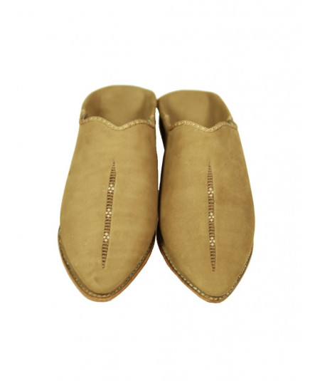 Pointed babouche suede color camel