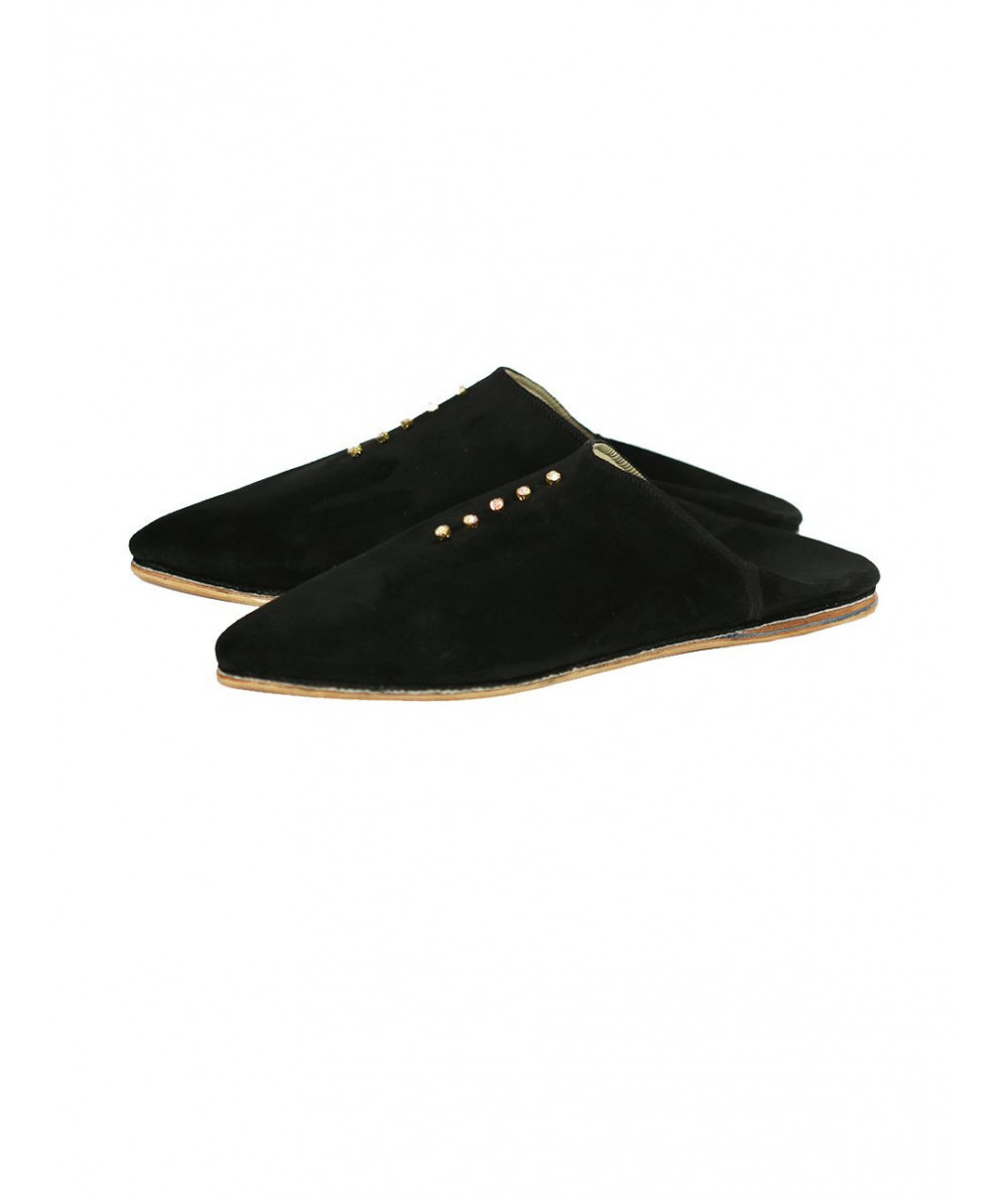 Pointed suede slipper with pearl