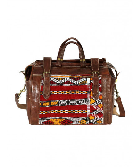 Leather and Kilim travel bag