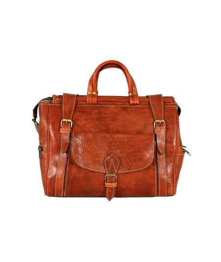Camel leather travel bag