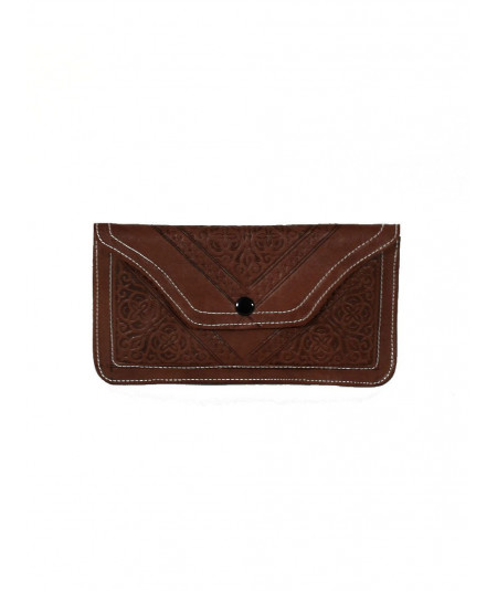 Choclate sheepskin clutch bag