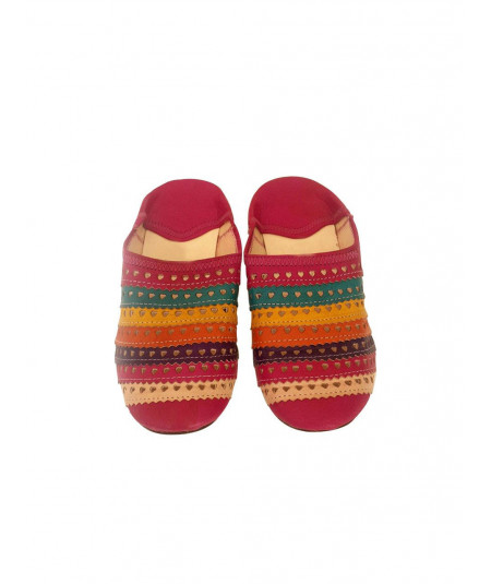 Multicolored leather and wool slippers
