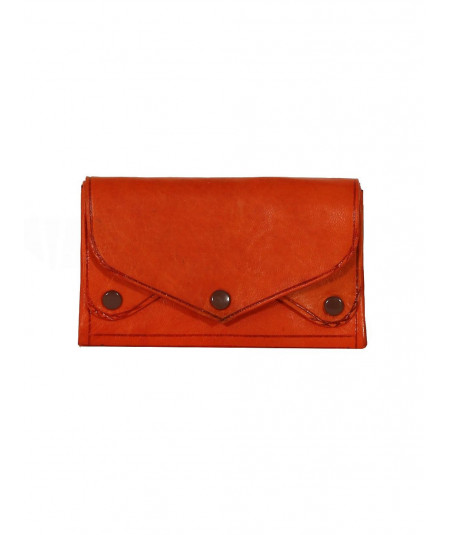 orange sheepskin clutch bag