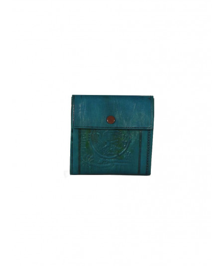Turquoise sheepskin leather wallet