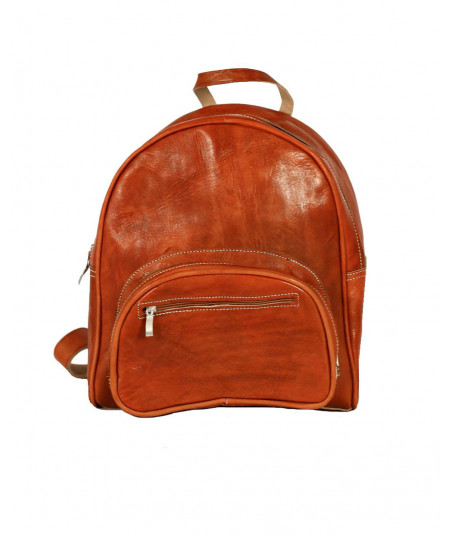 Round backpack in calfskin with pocket