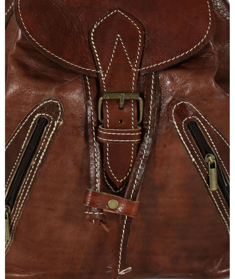 Calfskin Leather Brown Backpack