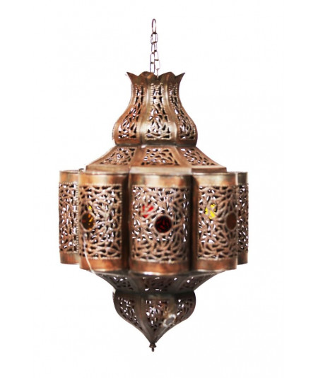 Oriental lamp in coppery metal