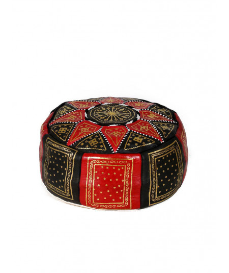 leather fassi pouffe