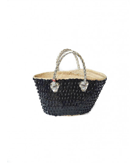 Black basket with sequins