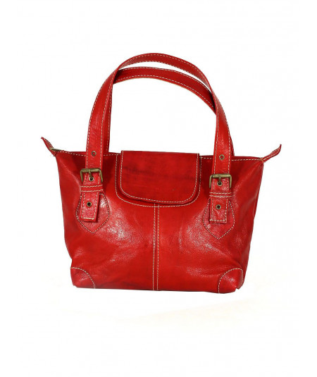 Red Calfskin Leather Handbag