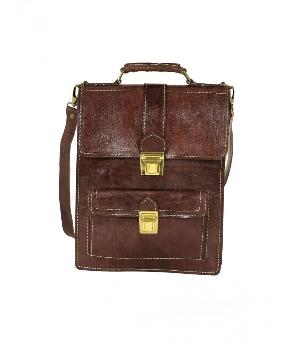 Brown calfskin leather Satchel