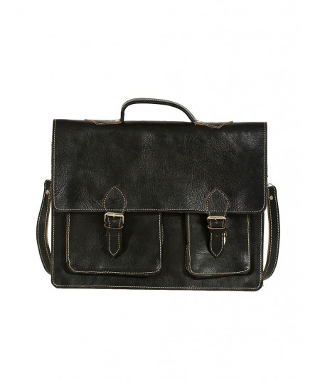 Black Calfskin Leather Satchel