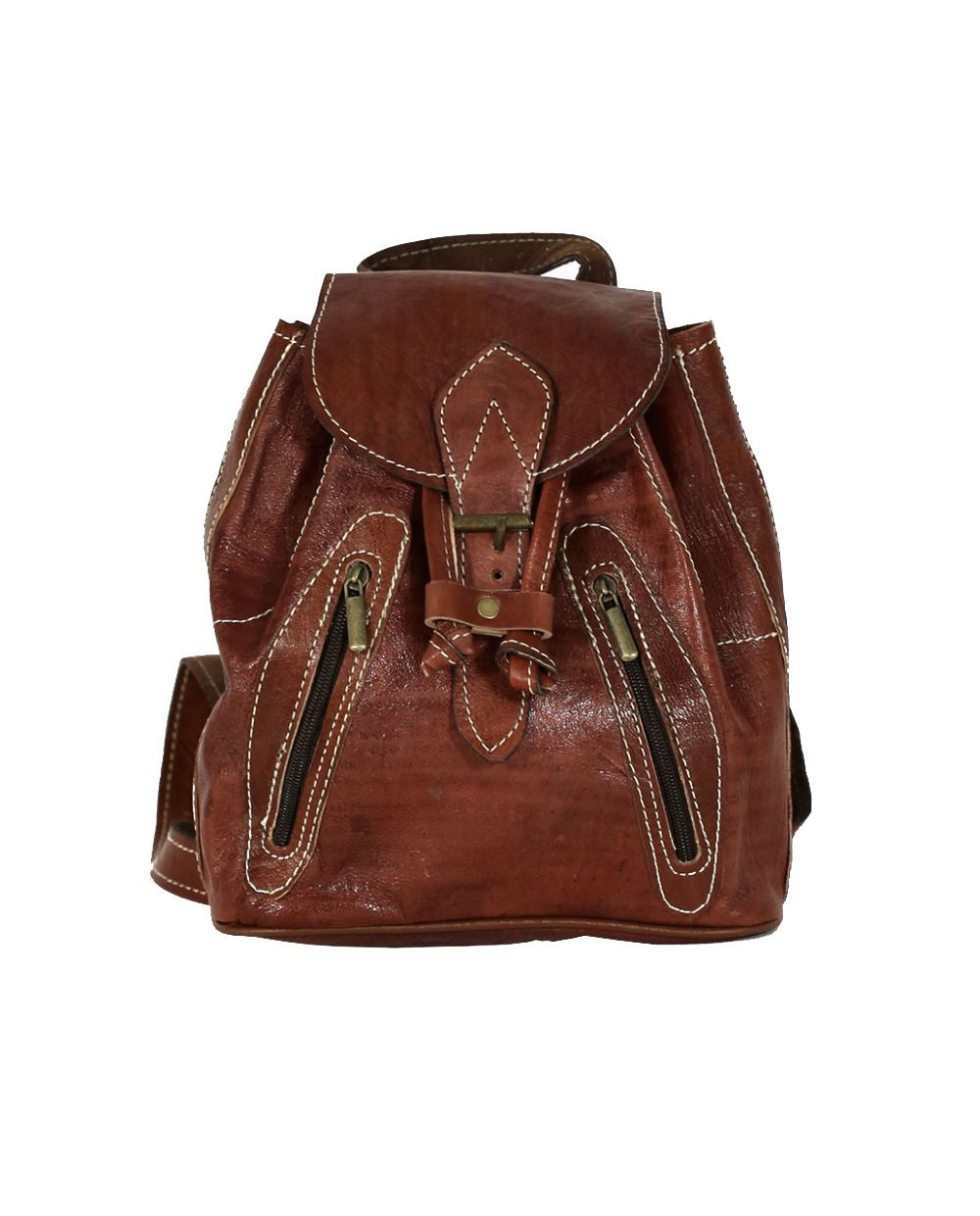 Brown Leather Backpack- Fenix Toulouse Handball 938f759fb062b