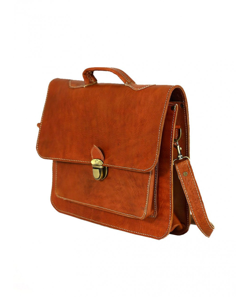 Oranged Calfskin leather  Satchel
