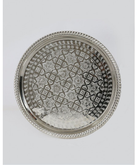 Round silver decorative tray