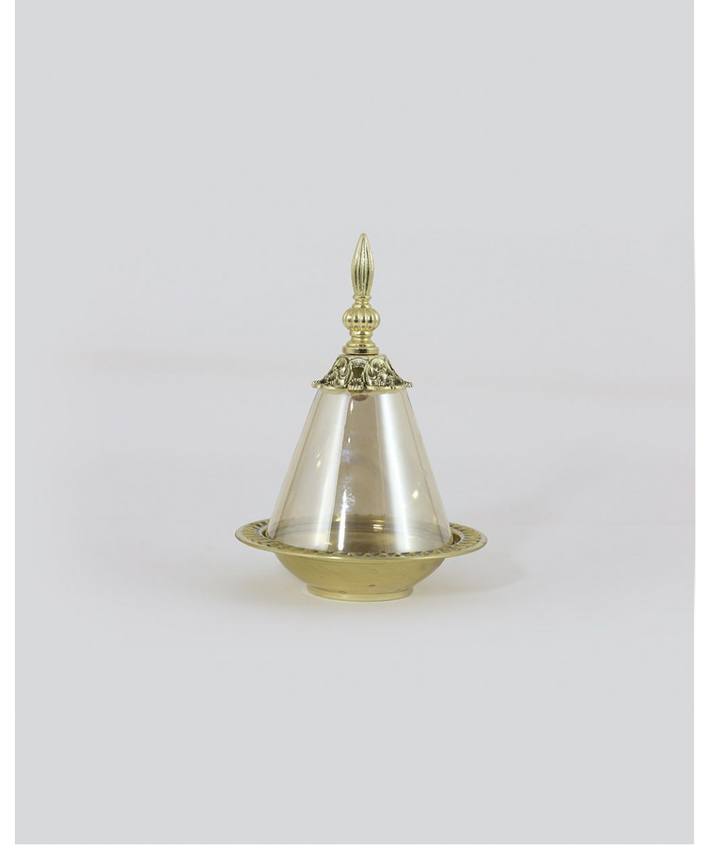 Three pieces of pyramidal shape in gold blown glass