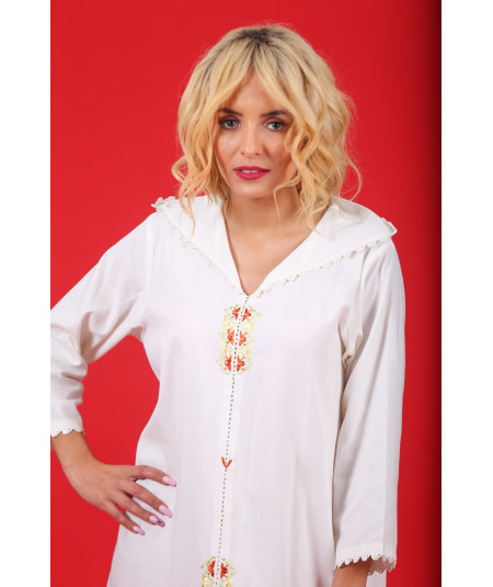 Djellaba white with randa in multicolored