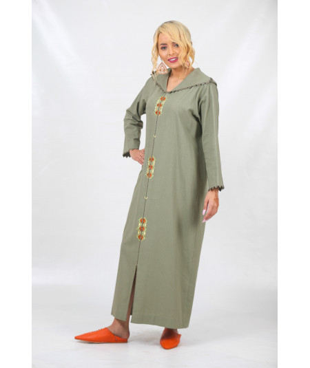 Djellaba in green linen with randa