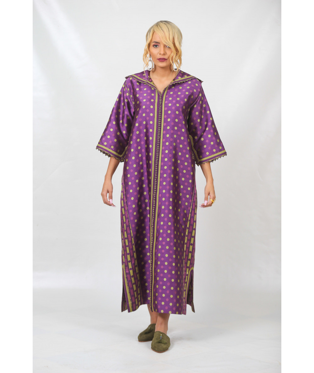 Djellaba printed with purple and green sfifa