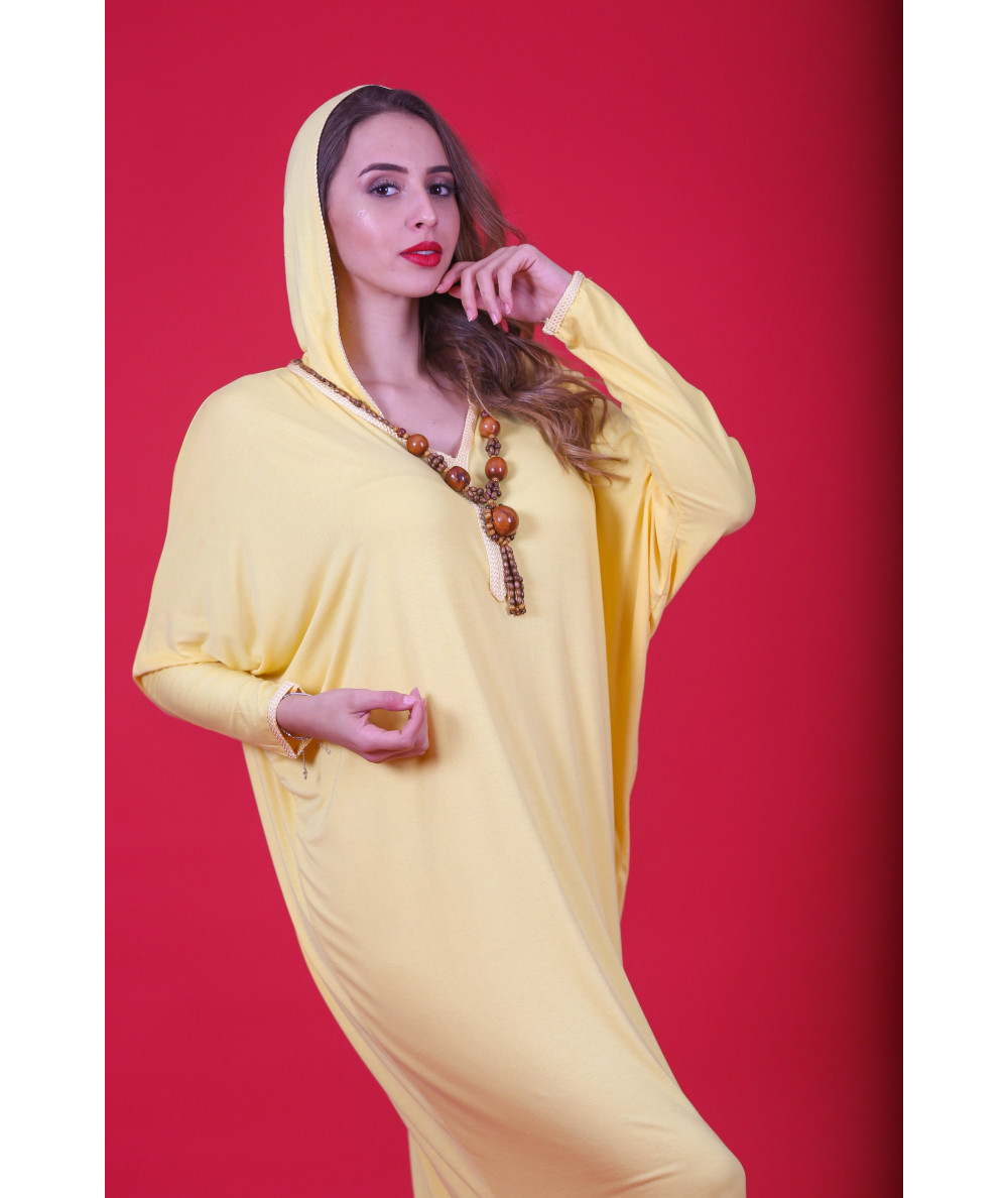 Yellow Djellaba with brown beaded necklace