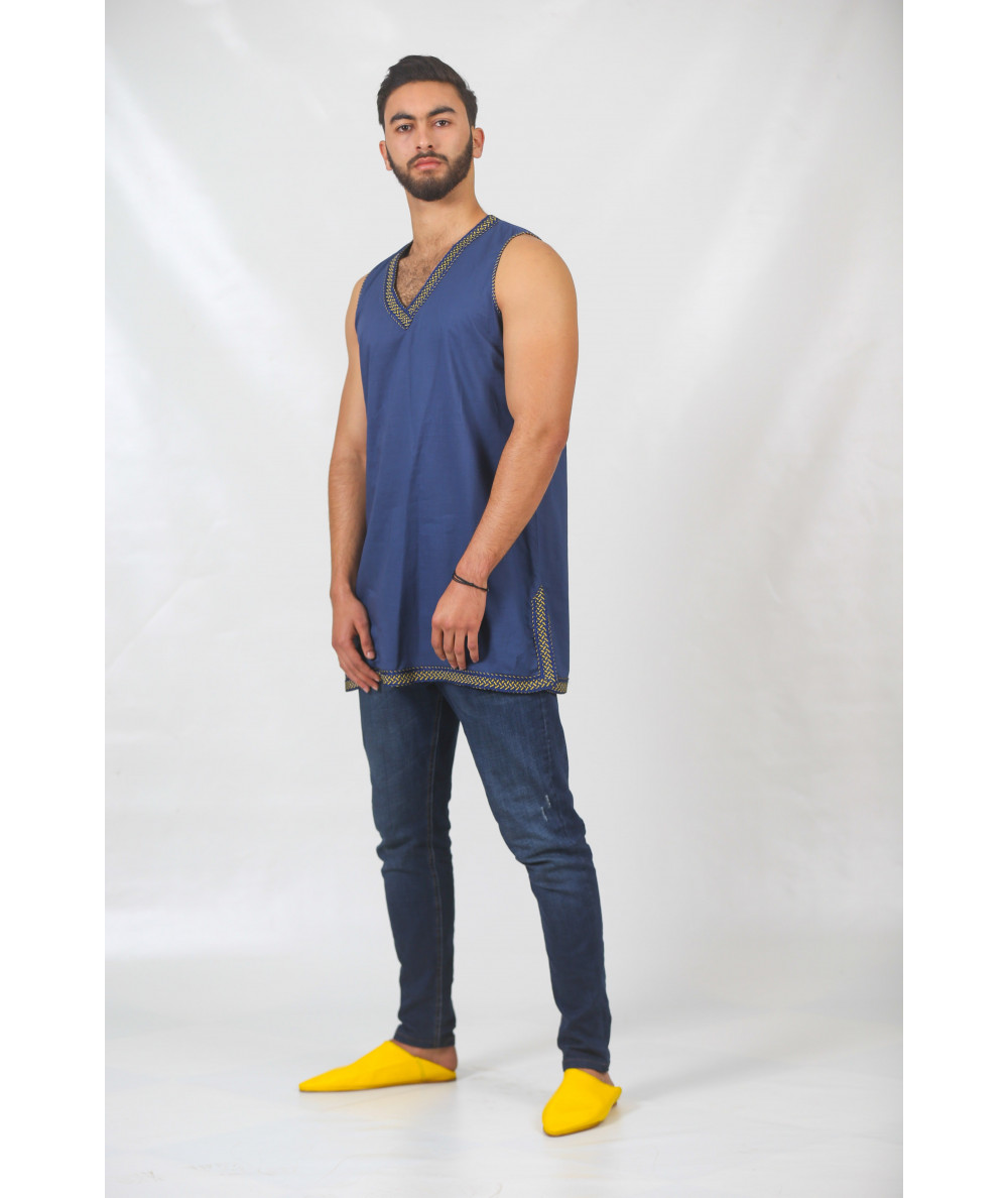 Blue tunic without sleeves