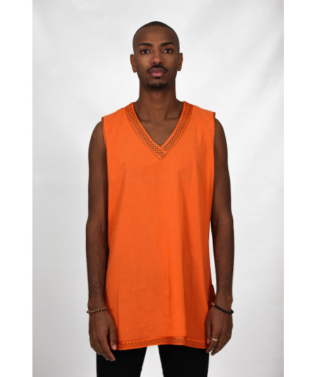 Orange tank tunic without sleeves