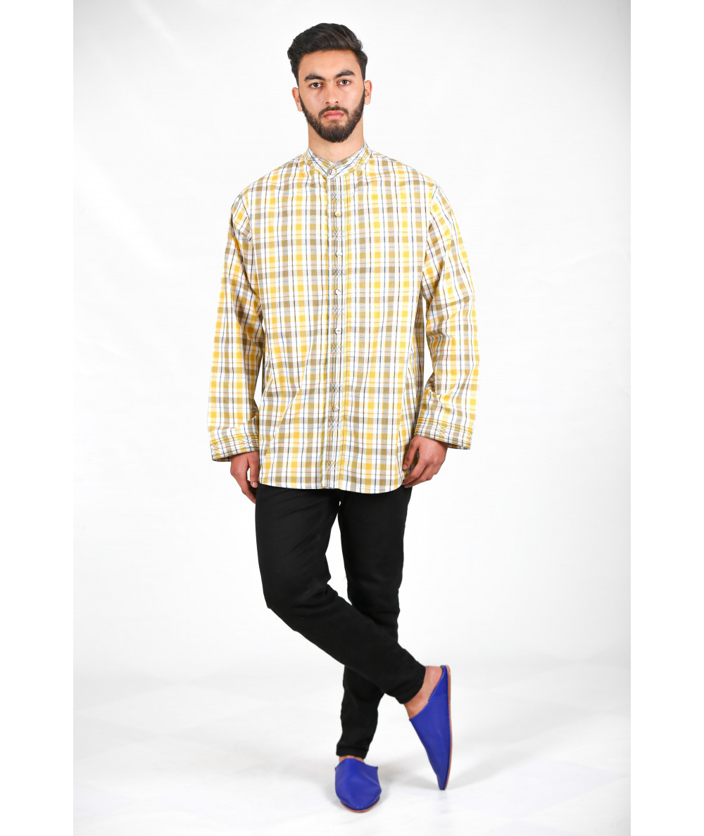 Yellow and brown striped shirt