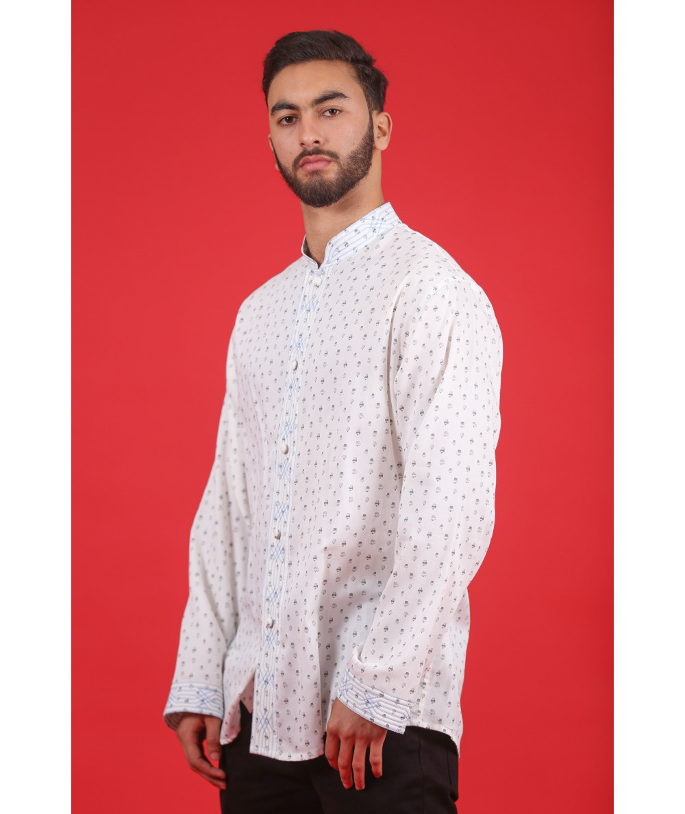 White shirt with black patterns