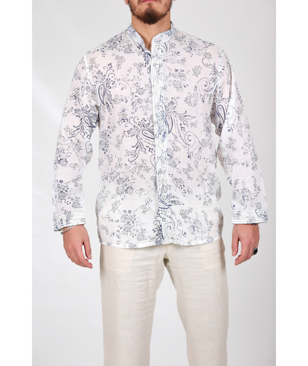 Embroidered shirt with flowers