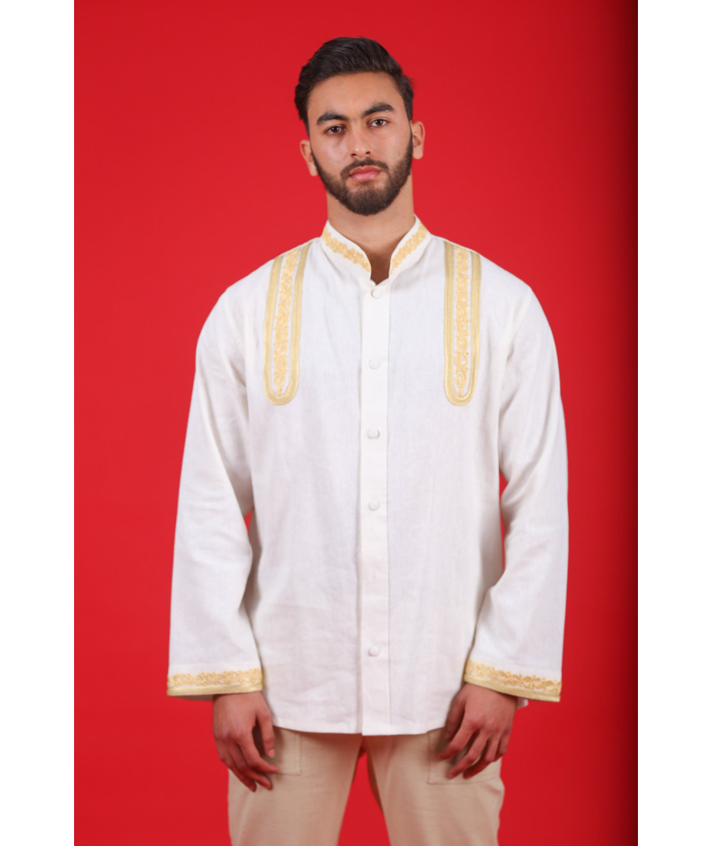 White shirt embroidered with yellow thread