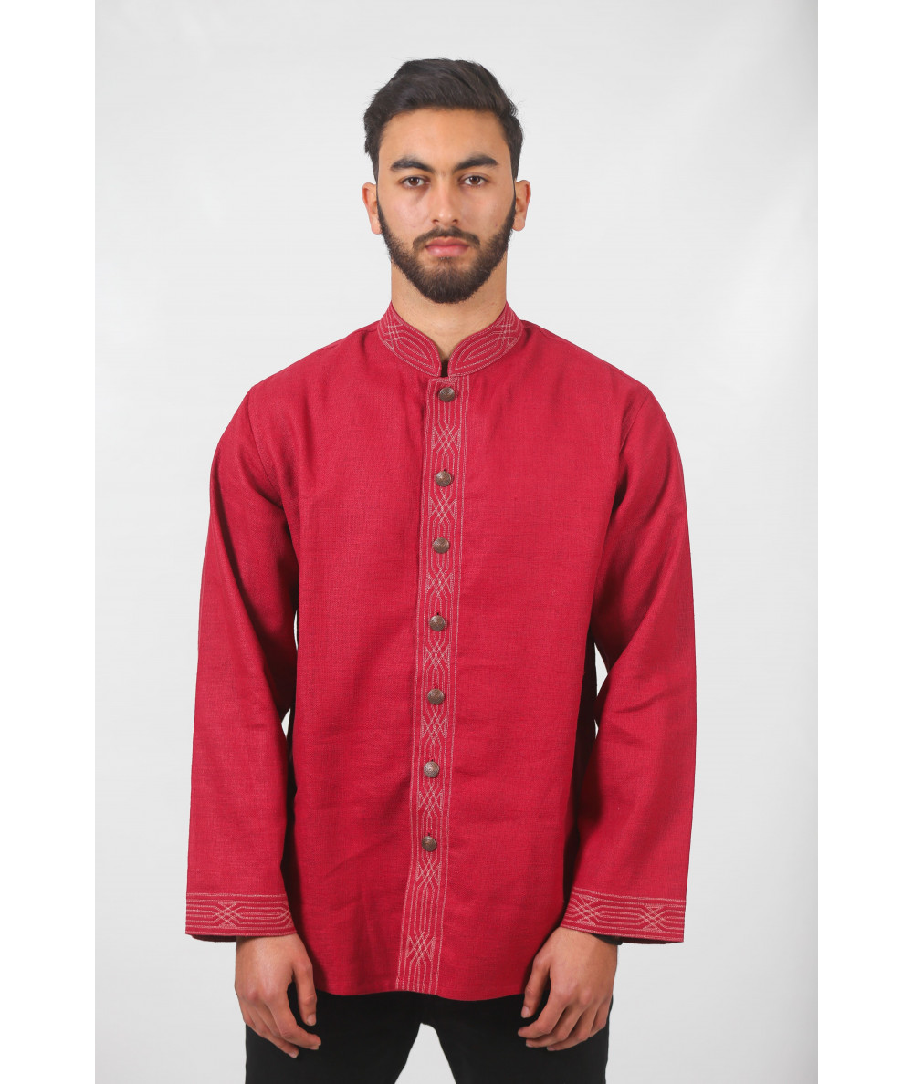 Traditional garnet shirt with metal buttons
