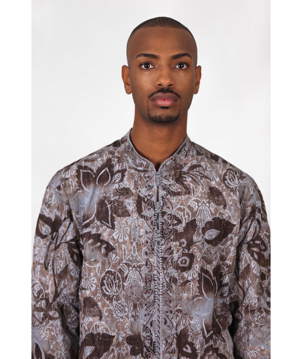 Patterned brown shirt