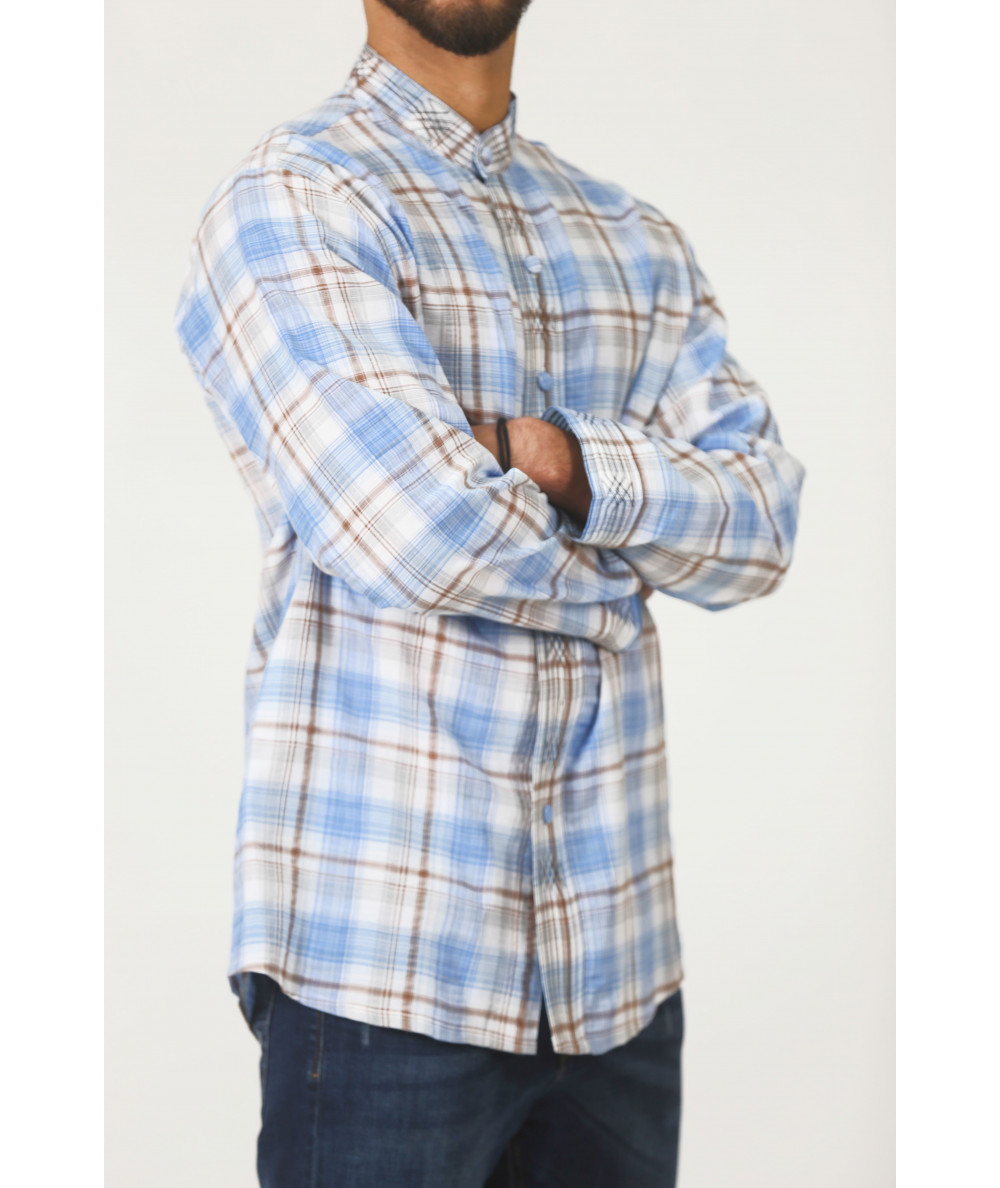 Shirt with stripes in brown and blue