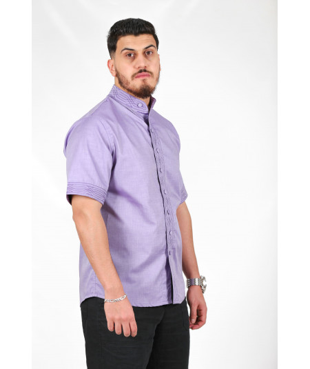 Traditional purple shirt with upholstered buttons