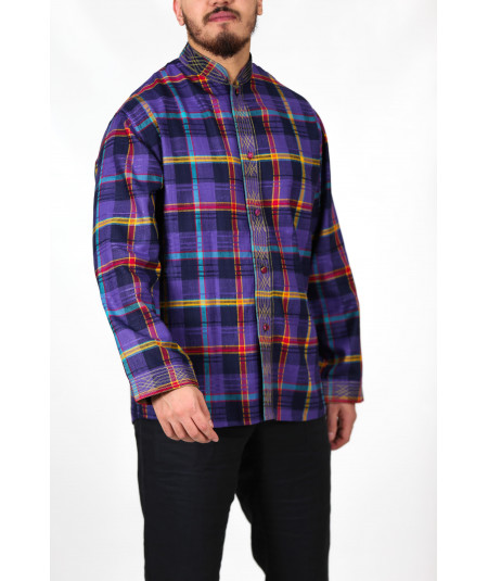 Dark purple shirt with multicolored stripes