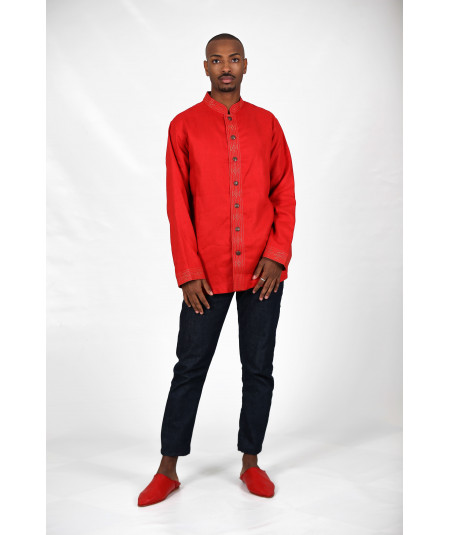 Red shirt embroidered in gold thread and metal buttons