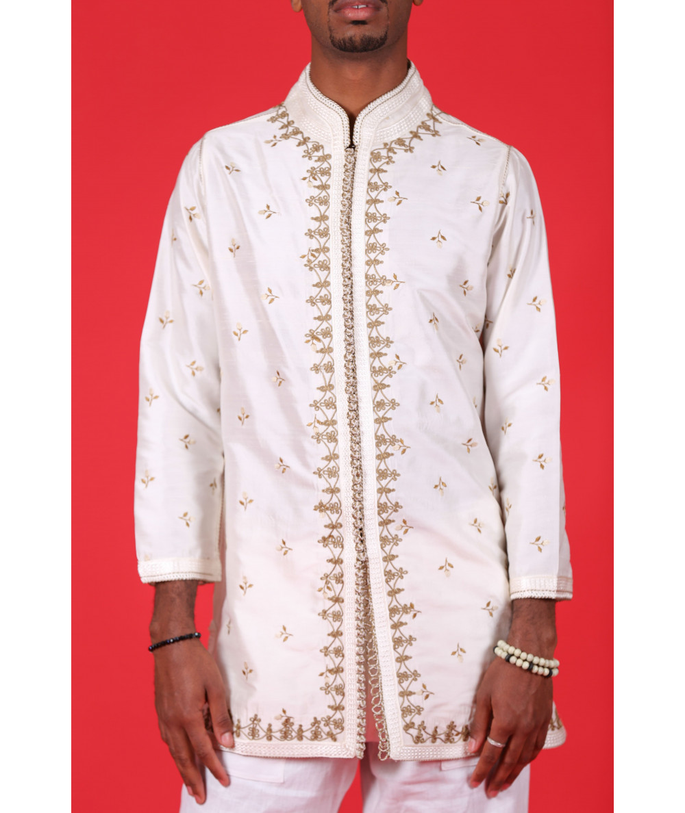 Beige shirt with brown embroidery