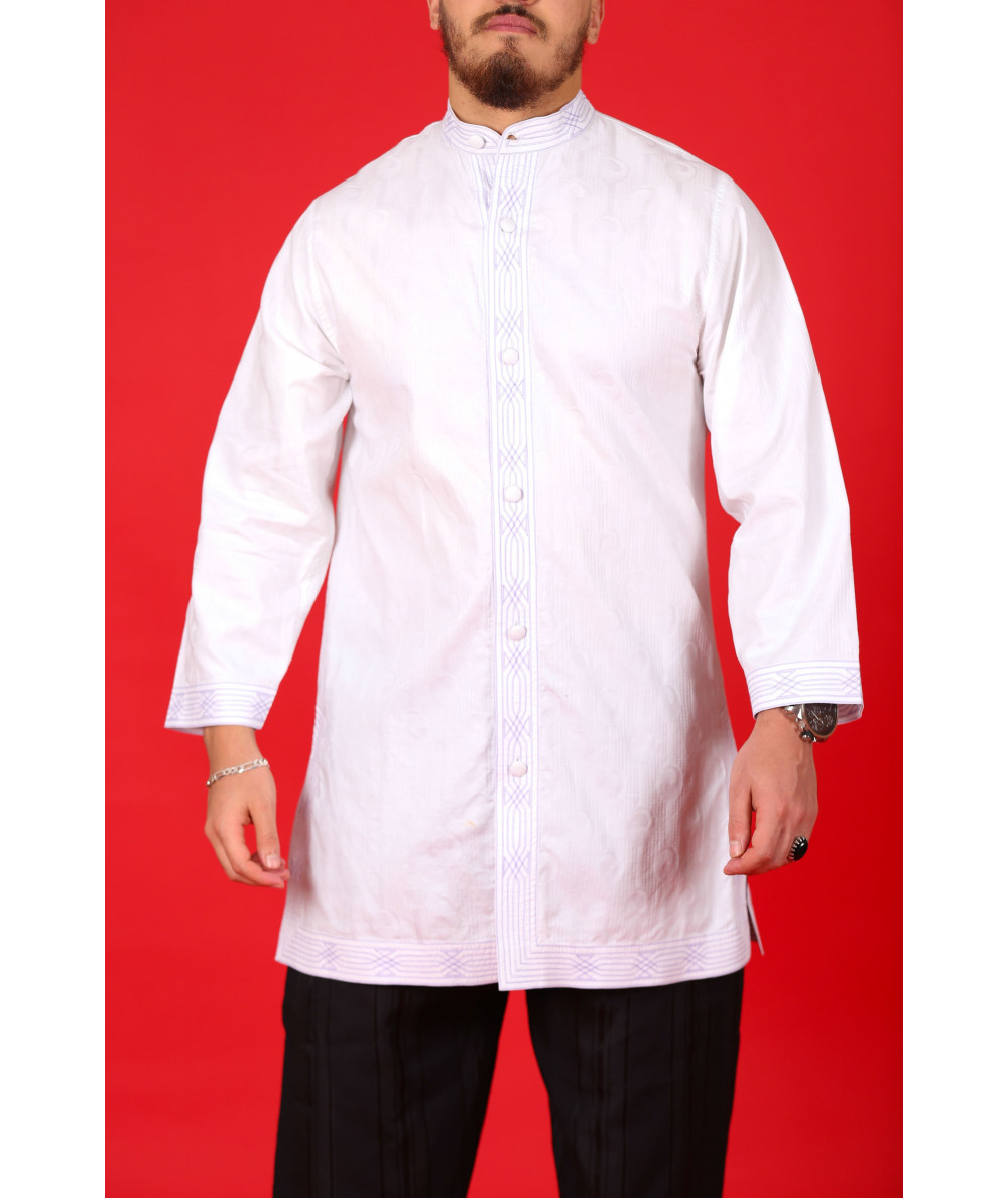 Long white shirt with blue stitching