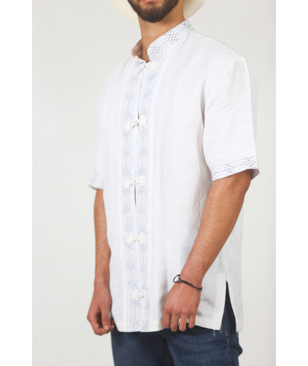 White shirt with traditional closure