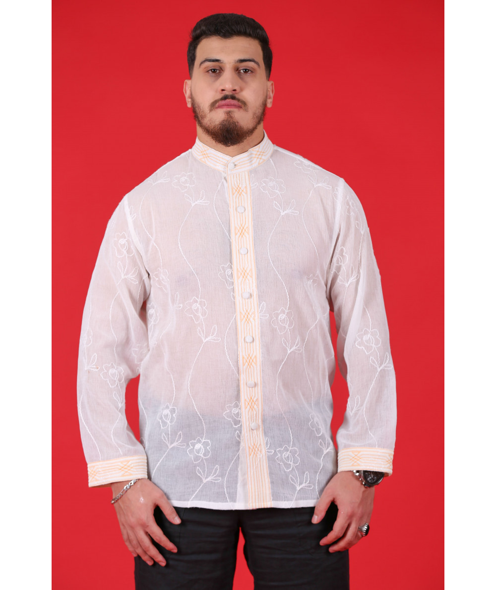 Beige shirt with floral embroidery