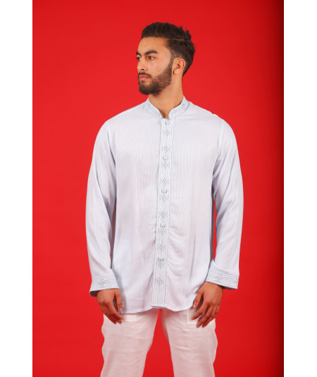 Traditional navy striped shirt