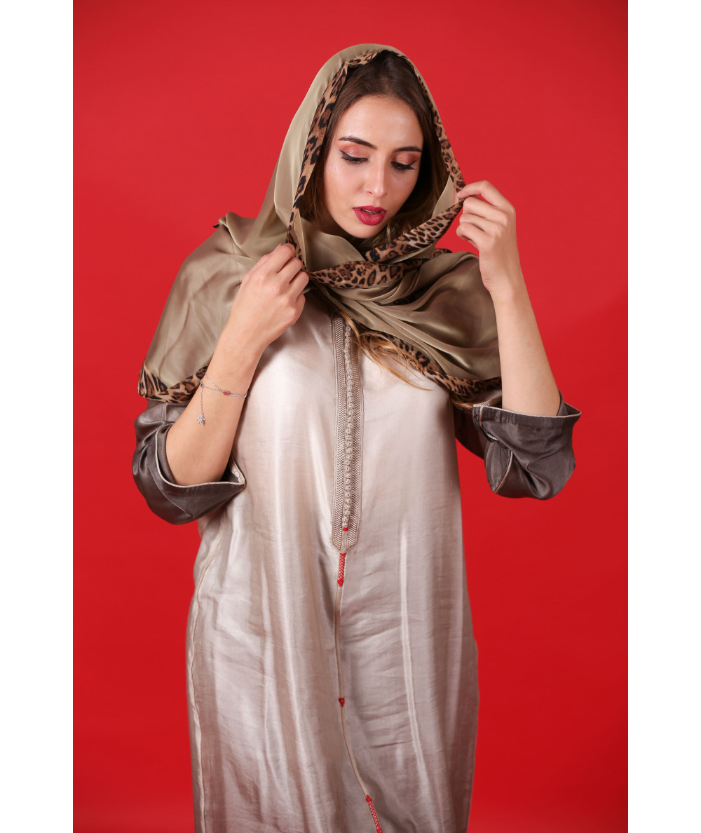 Beige Djellaba with beige and red sfifa