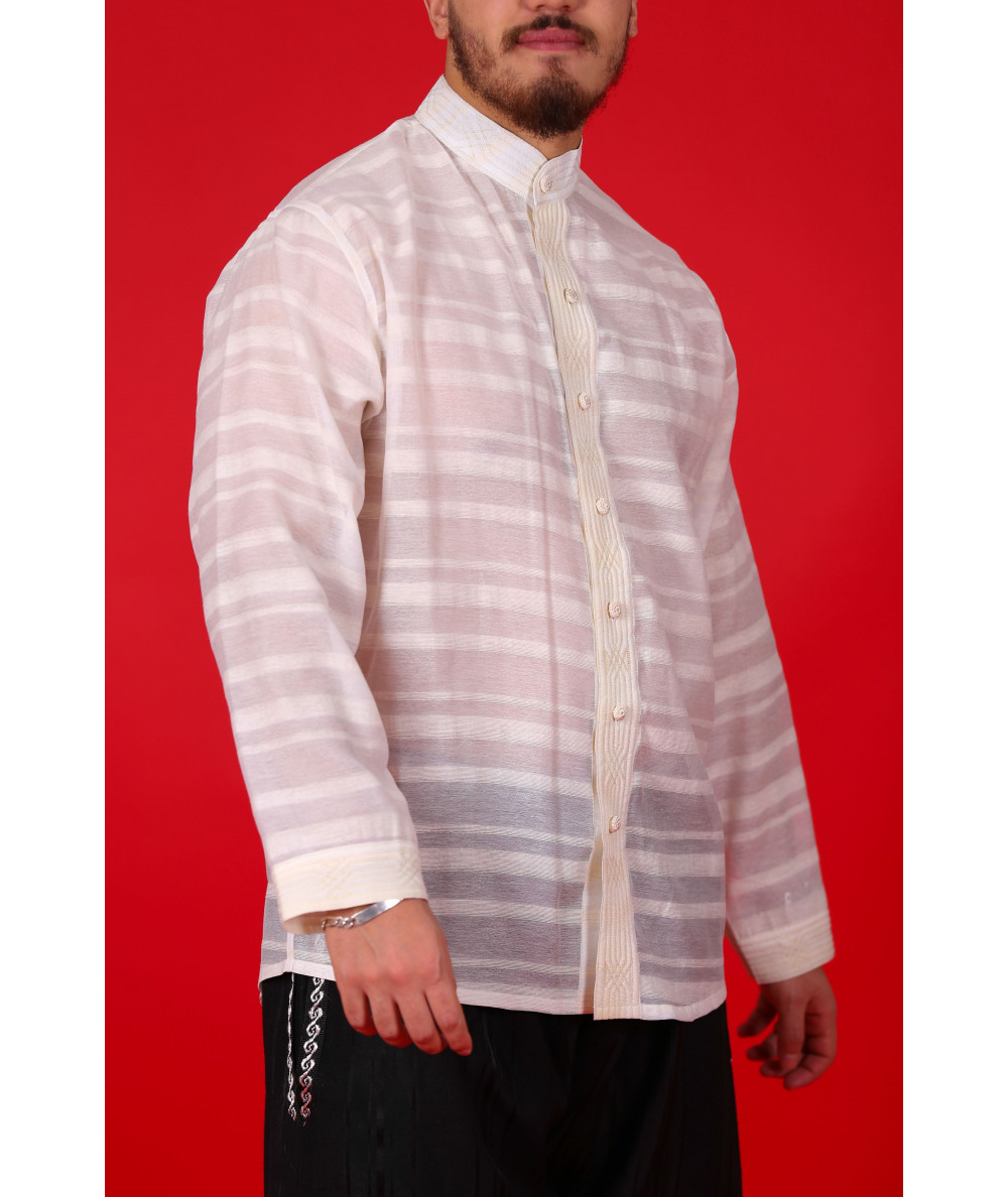 Traditional striped beige shirt